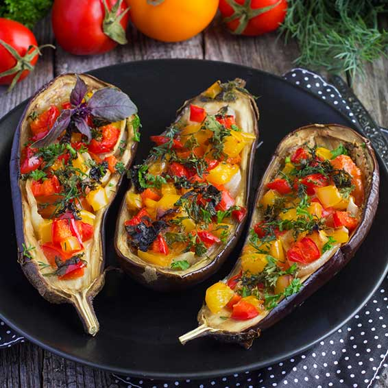 Eggplant Stuffed with Summer Vegetables