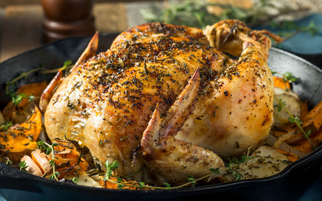 Whole Roasted, Free-Range Chicken with Winter Vegetables